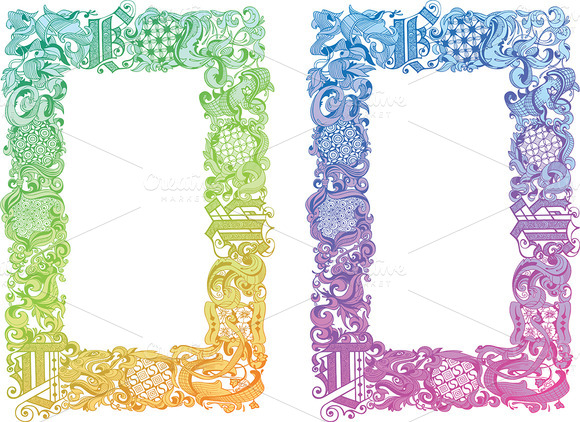 Calligraphic Floral Frame