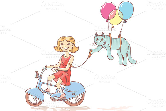 Cycling Girl With The Flying Cat