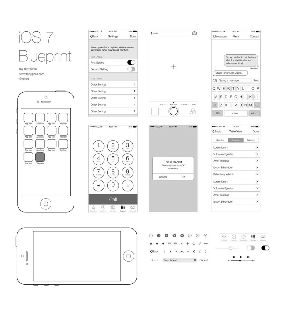 ios wireframe blueprint product mockups on creative market. Black Bedroom Furniture Sets. Home Design Ideas