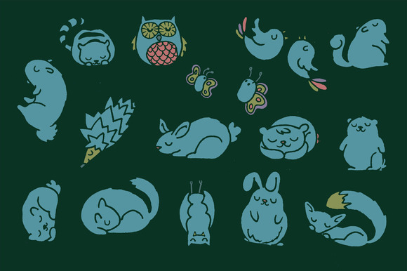 Mega Cute Sleepy Forest Animals Pack