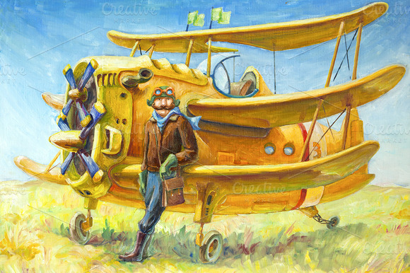 Oil Pilot And His Plane
