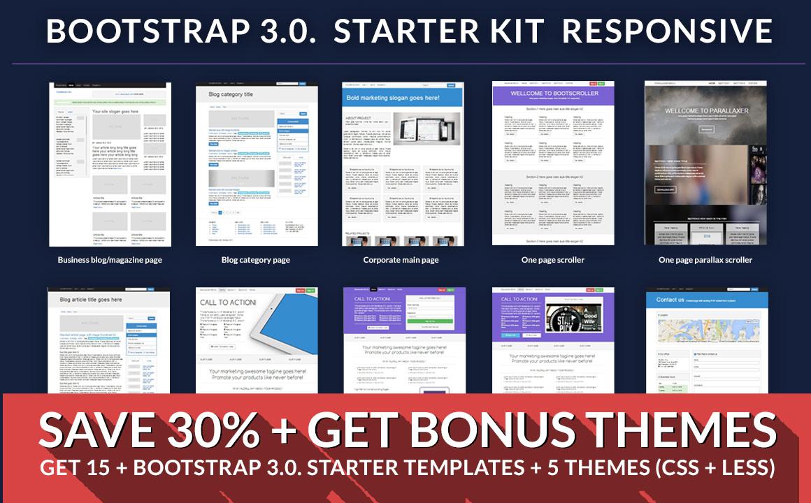 bootstrap starter responsive kit website templates on creative market. Black Bedroom Furniture Sets. Home Design Ideas