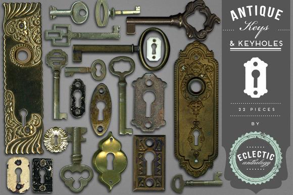 Antique Keys And Keyholes