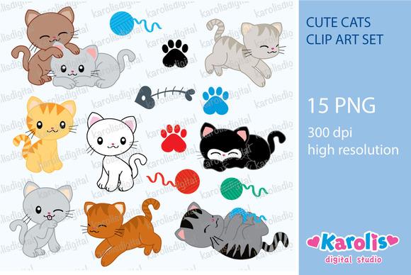 Cute Cats Clip Art Set