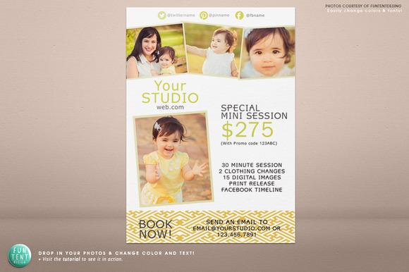 5x7 mini session marketing flyer flyer templates on creative market for Photography marketing templates