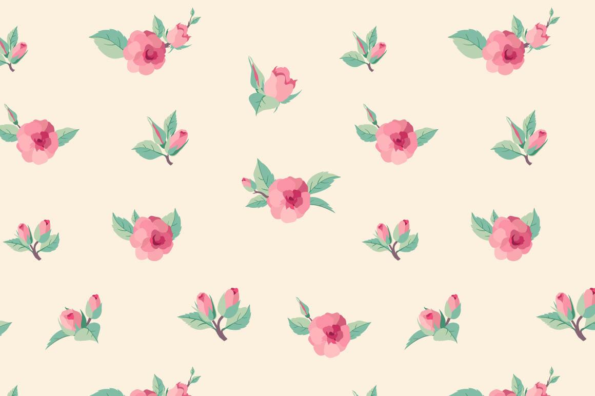 Vintage Rose Pattern T...