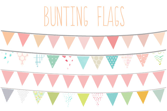 Bunting Flags Clip Art ~ Illustrations on Creative Market
