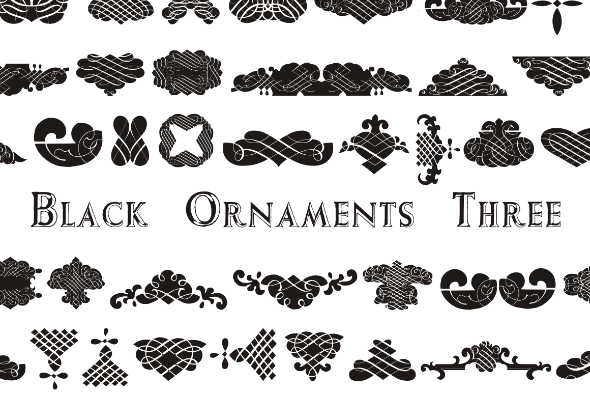 black ornaments three symbol fonts on creative market