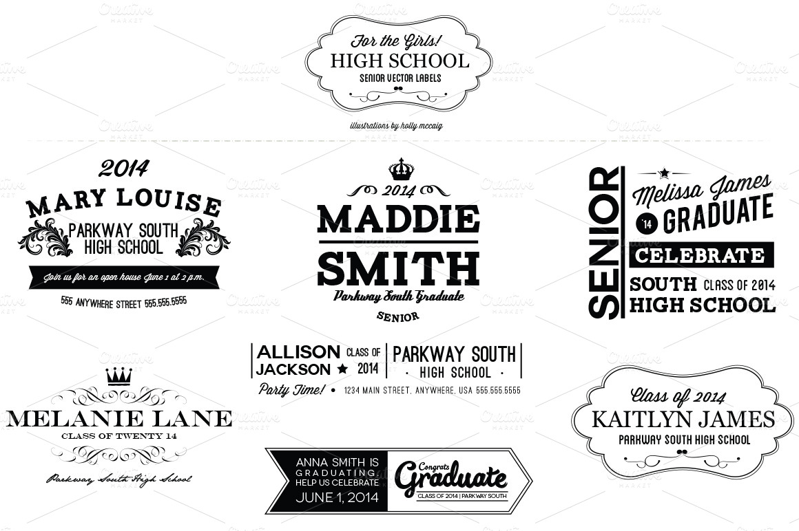 High School Senior Girl Labels ~ Objects on Creative Market