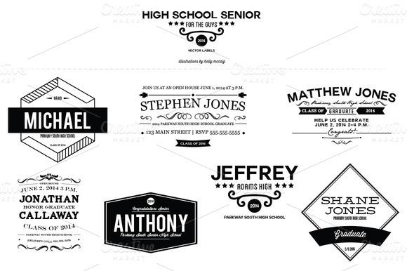 High School Senior Guy Labels