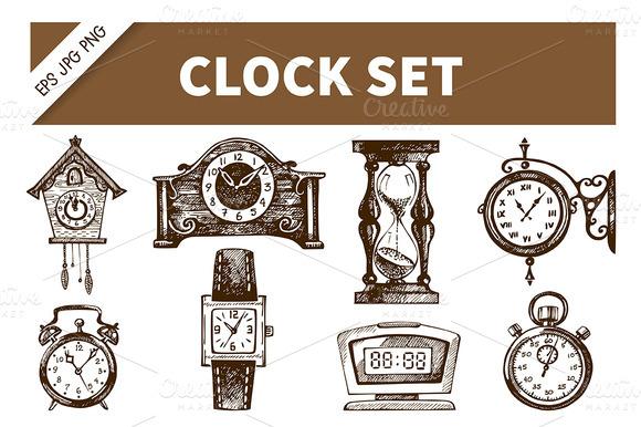 Clock Watch Hand Drawn Vintage Set