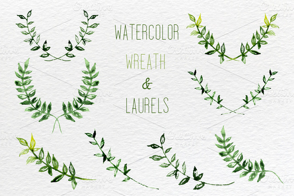 Watercolor set of wreath and laurels ~ Illustrations on Creative ...