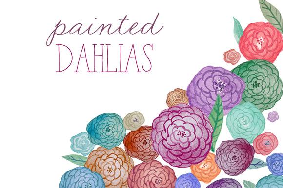 Watercolor Flowers Dahlias