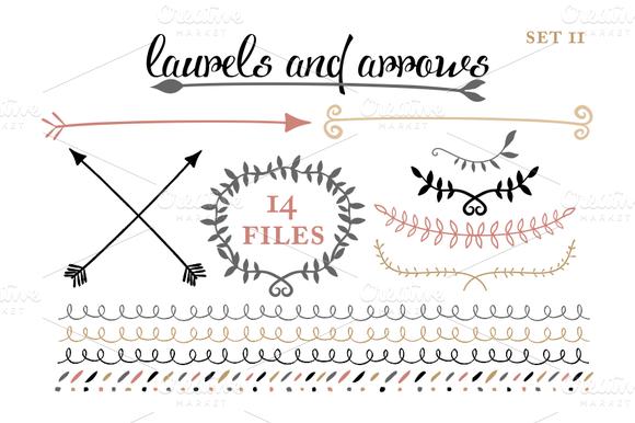 Hipster Arrow Graphic Arrows, laruels & borders set