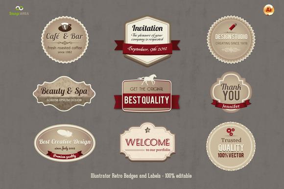 Set Of 16 Retro Badges