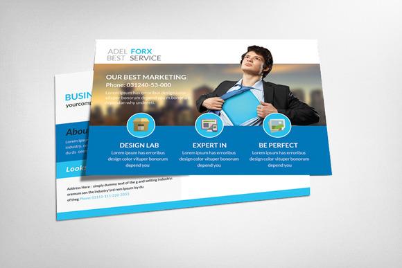 marketing postcard template card templates on creative market. Black Bedroom Furniture Sets. Home Design Ideas