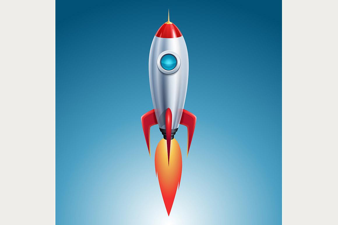 Cartoon Retro Rocket Space Ship