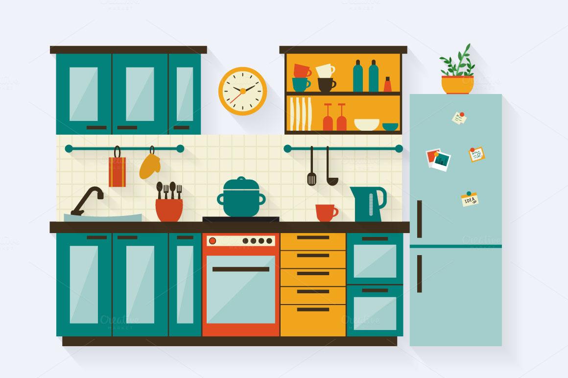 Simple Kitchen Cartoon