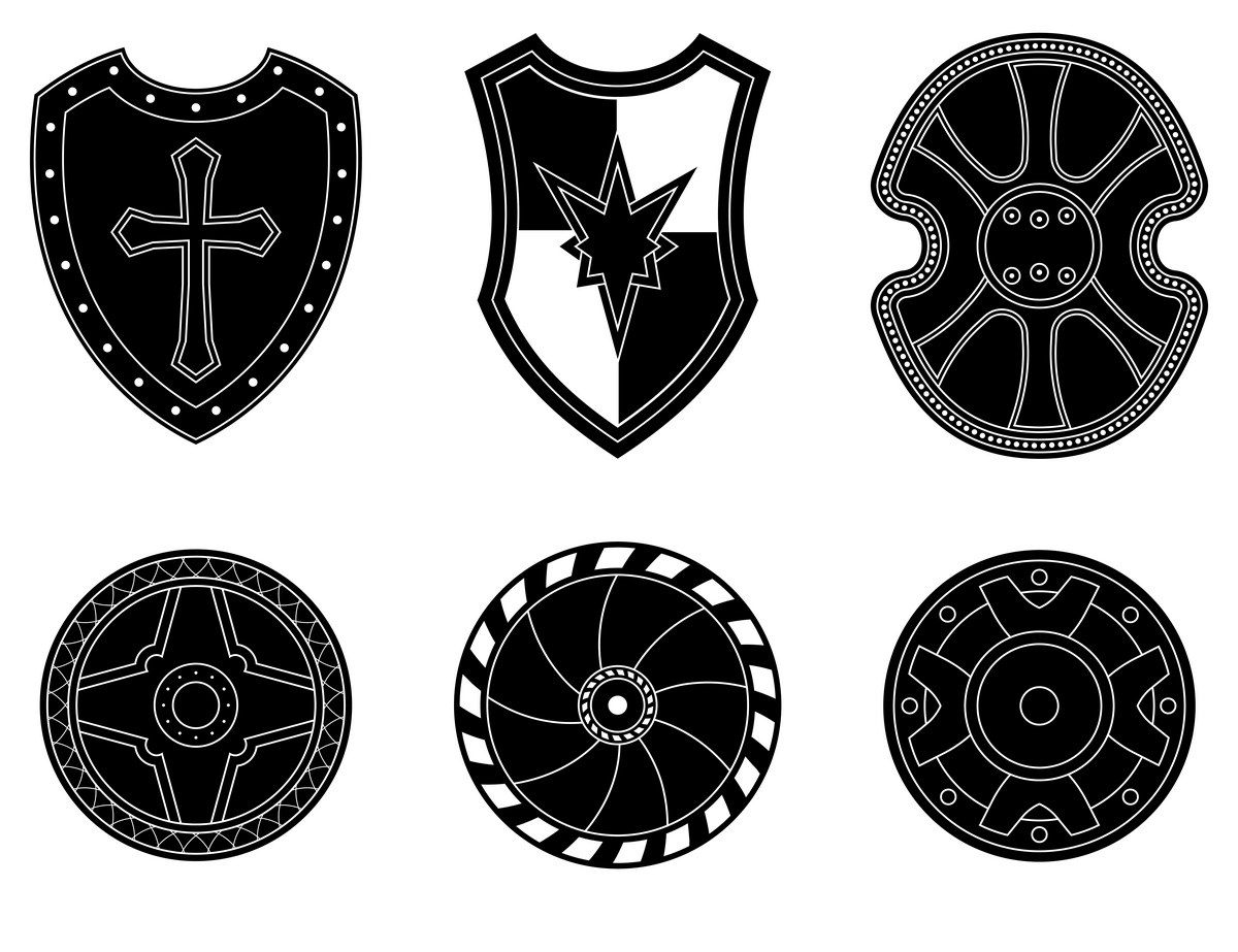 Icon Set Of Ancient Medieval Shield Icons On Creative