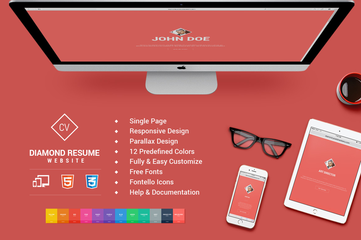 responsive html5 diamond resume cv