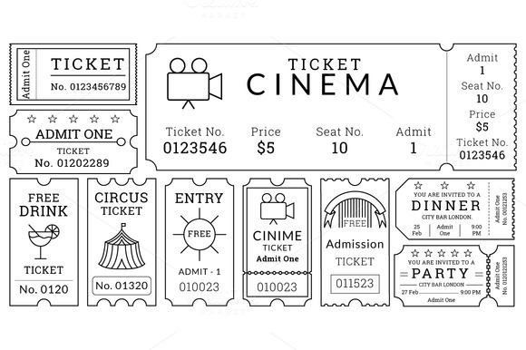 ticket templates pack illustrations on creative market