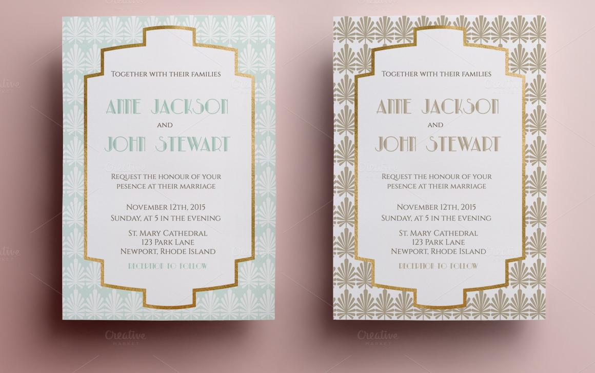 elegant wedding invitation invitation templates on creative market. Black Bedroom Furniture Sets. Home Design Ideas