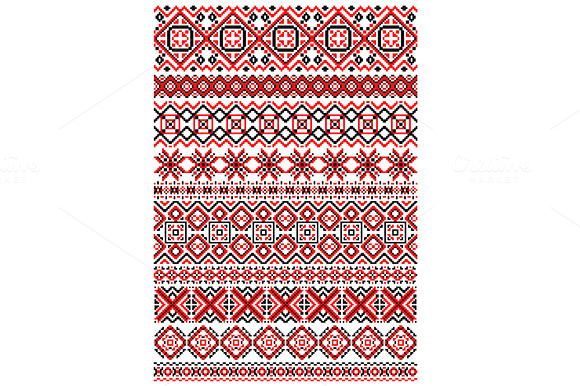 Geometric ornament ethnic embroidery patterns on