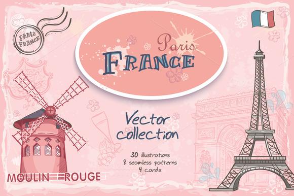 France. Set of motives - Illustrations