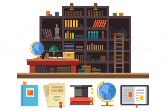 Bookcase. Cabinet and library - Illustrations