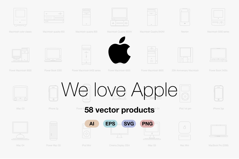 Apple, ipad, iphone, mac, mbp, air ~ Objects on Creative