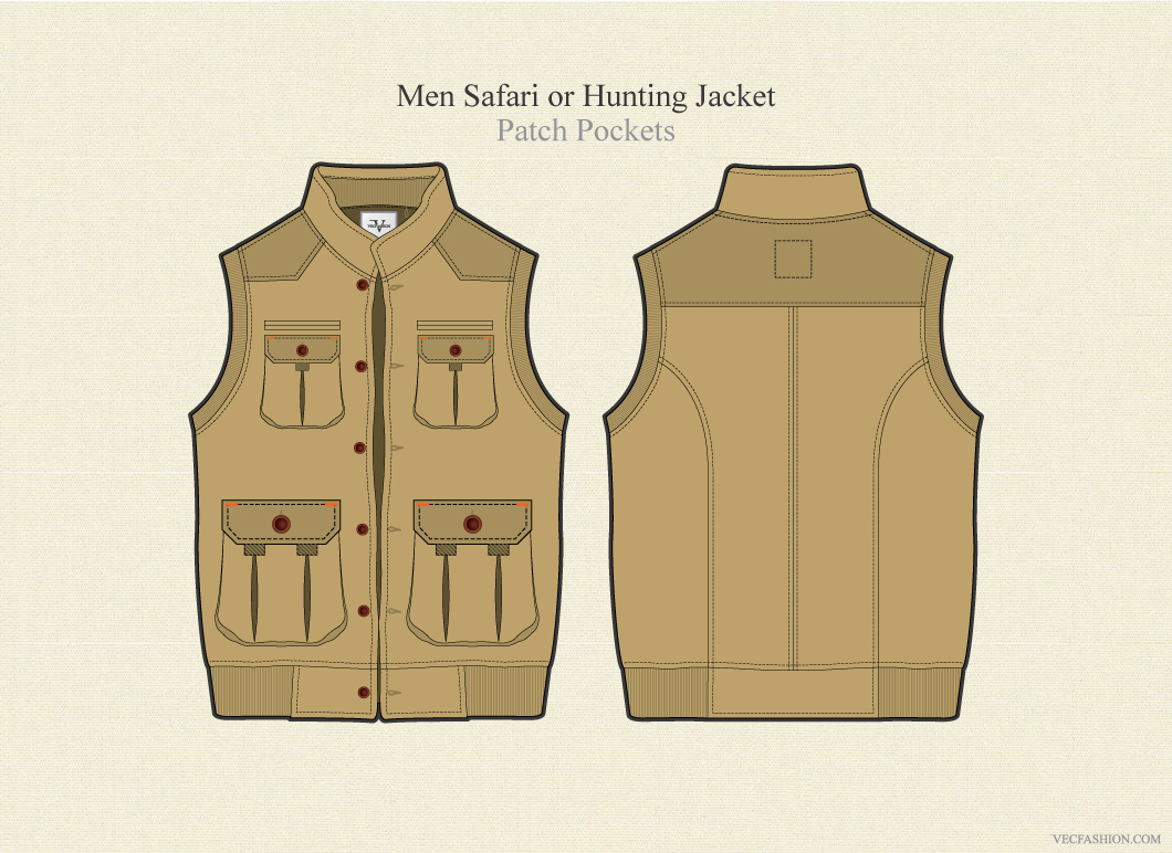 men safari or hunting jacket illustrations on creative