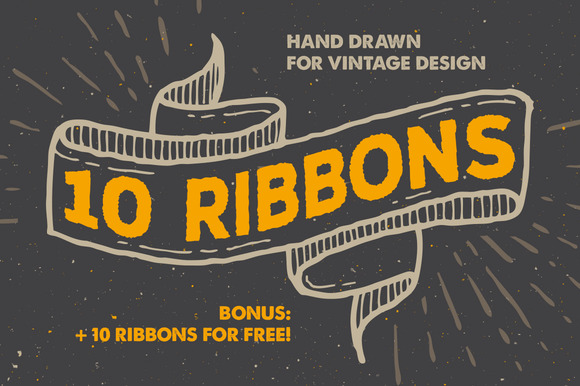 10 Vintage Ribbons Bonus
