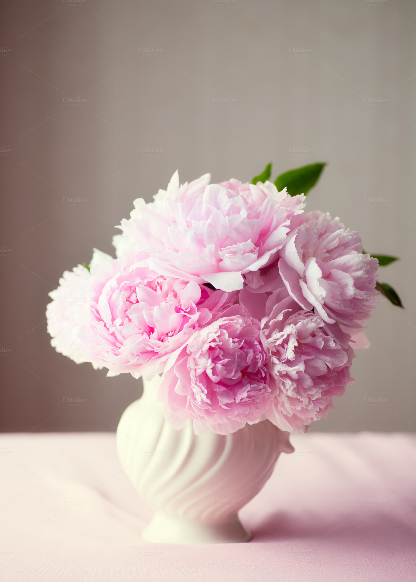 Fresh Cut Pink Peonies In A Vase Nature Photos On