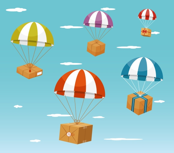 Delivery. Gift Boxes on Parachute - Illustrations