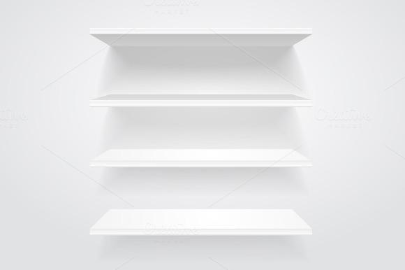 White shelves. Vector. - Objects