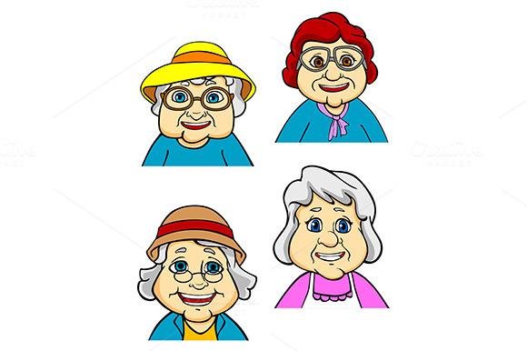 Cartoon Happy Old Women And