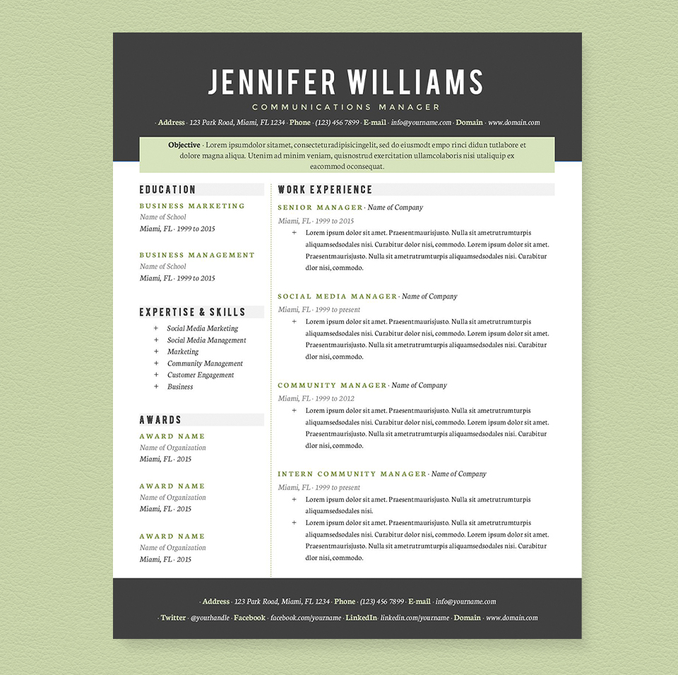 Photo Resume Templates Professional Cv Formats: Resume Templates On Creative Market