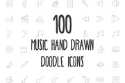 100 Music Hand Drawn Doodle-Graphicriver中文最全的素材分享平台