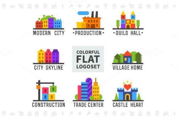 Colorful flat logo set. Cityscape - Illustrations