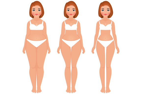Fat To Slim Woman Weight Loss  Illustrations On Creative -3608