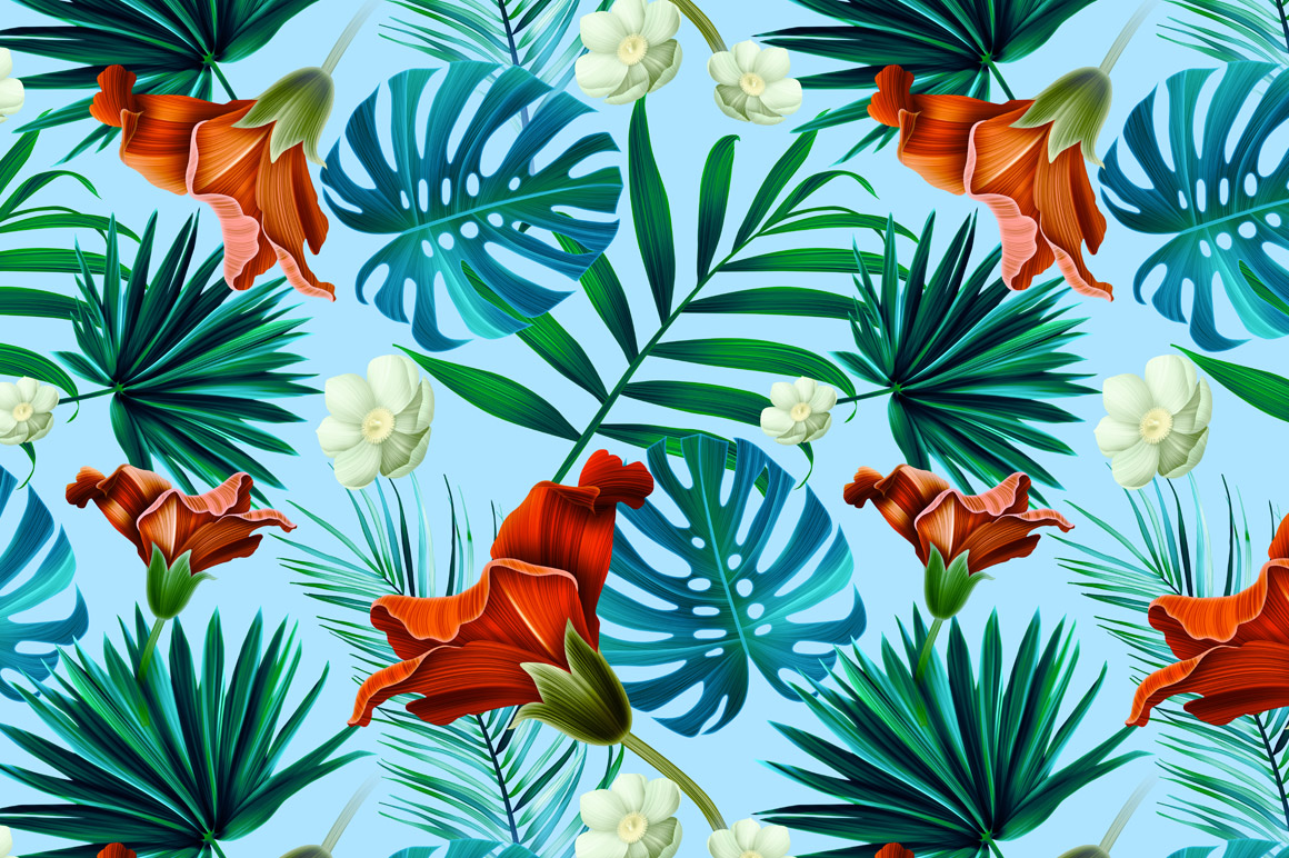 Tropical Pattern Jungle Flowers Patterns On Creative Market