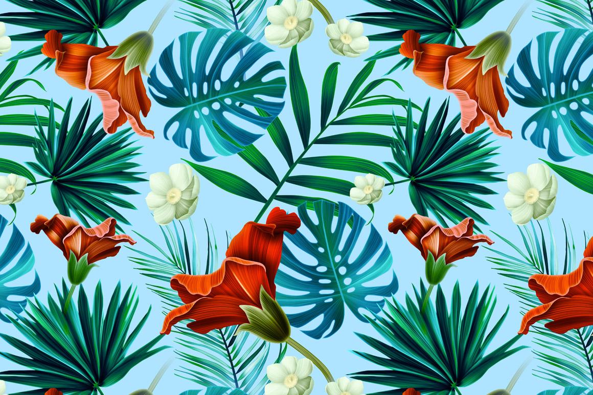 Tropical Pattern Jungle Flowers Patterns On Creative Market