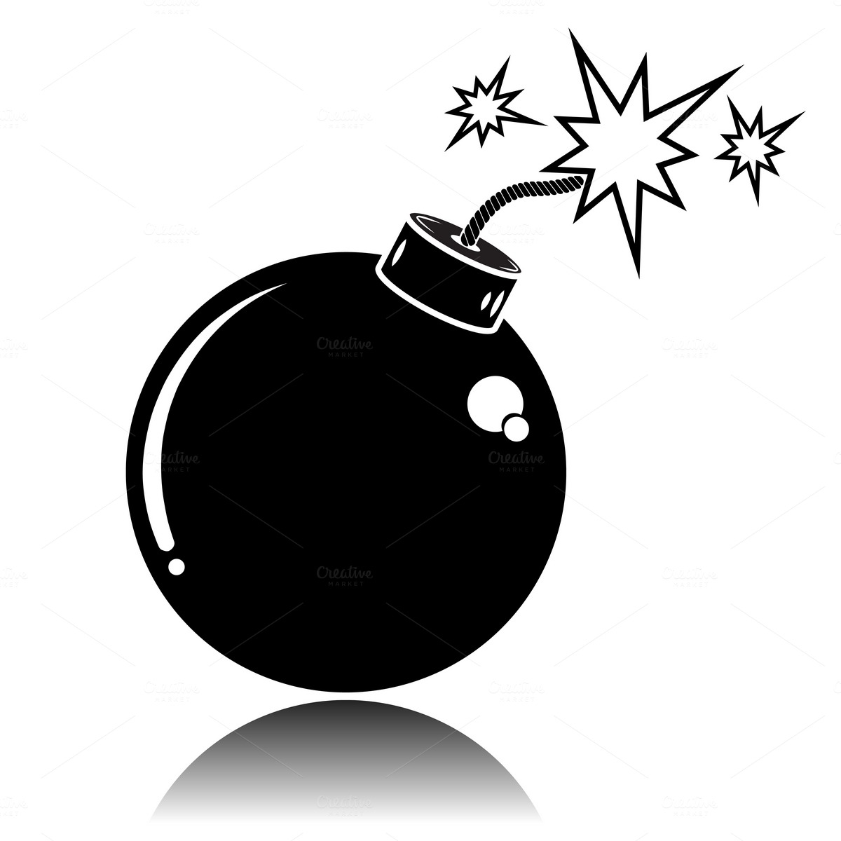 Black Bomb icon. Vector illustration ~ Icons on Creative ...