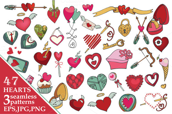 Valentine's day heartsdecor.Big pack - Illustrations