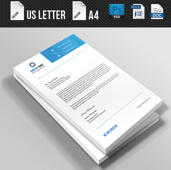 A Creative Corporate Letterhead For Dealing Business With: Corporate Letterhead-V01