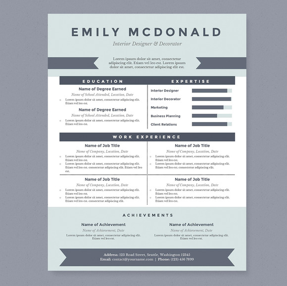 sea blue resume template package resume templates on creative market