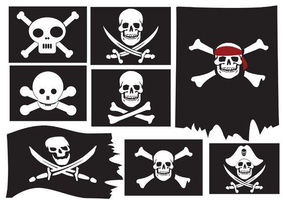 Skull and crossbones. Pirate flags - Objects