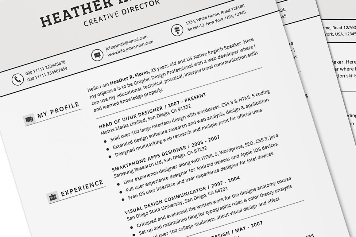 4 in 1 Timeless Resume CV Set ~ Resume Templates on