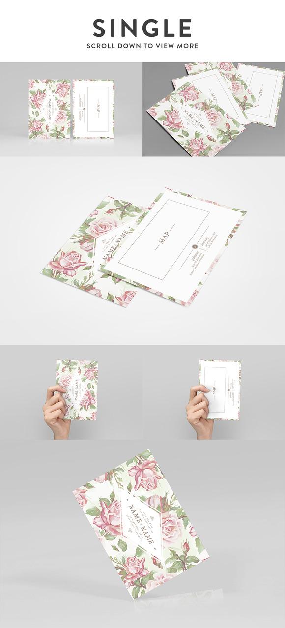 card mockup single bi fold product mockups on creative market. Black Bedroom Furniture Sets. Home Design Ideas