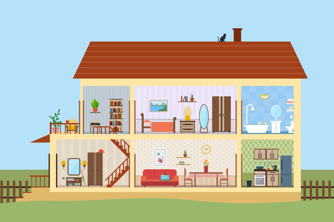 Big house inside with icons set illustrations on creative market - Inside house ...